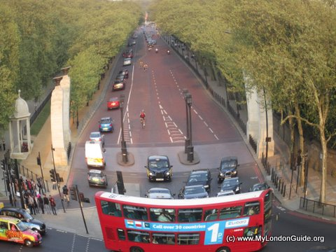 View up Constitution Hill from the Wellington Arch