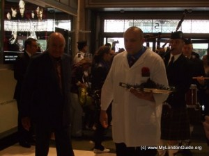 Mohamed Al Fayed welcoming the grouse into Harrods