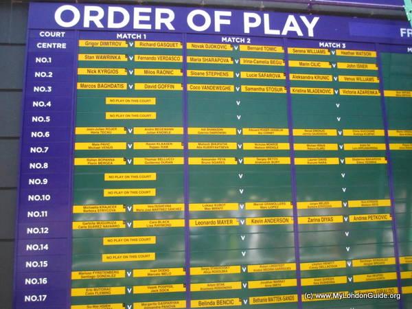 wimbledon 2015 Order of Play